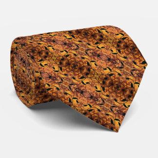 Brown And Black Autumn Leaves Pattern Tie