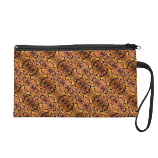 Brown And Black Autumn Leaves Pattern Wristlet