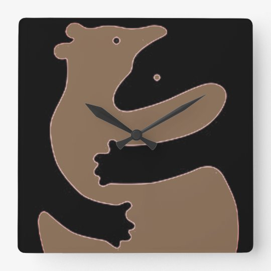 Brown and Black Figure-ground Bears Square Wall Clock
