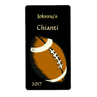 Brown and Black Football Sports Wine Label Shipping Label