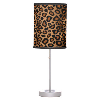 Brown and Black Leopard Animal Print Table Lamp
