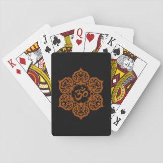 Brown and Black Lotus Flower Om Poker Deck