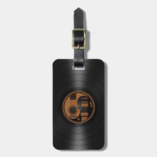 Brown and Black Yin Yang Guitars Vinyl Graphic Luggage Tag