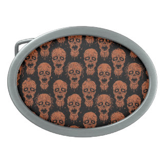 Brown and Black Zombie Apocalypse Pattern Oval Belt Buckle