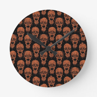 Brown and Black Zombie Apocalypse Pattern Wall Clock