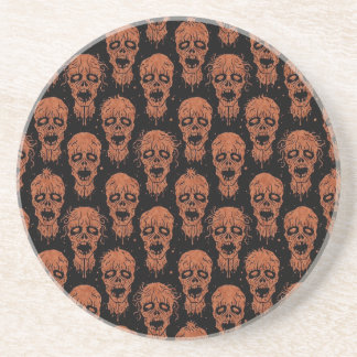 Brown and Black Zombie Apocalypse Pattern Beverage Coaster