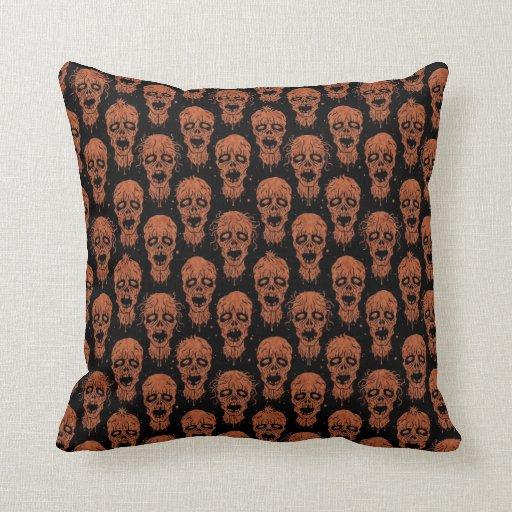 Brown and Black Zombie Apocalypse Pattern Throw Pillows