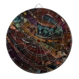 Brown And Blue Abstract Dart Board