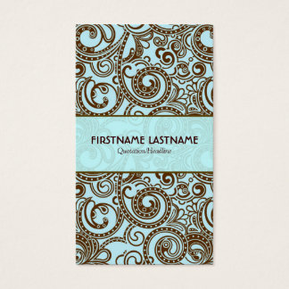 Brown And Blue Abstract Random Swirls Business Card