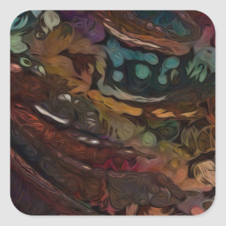 Brown And Blue Abstract Square Sticker
