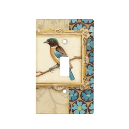 Brown and Blue Bird on a Branch Looking Up Light Switch Cover