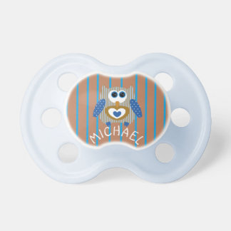Brown and Blue Owl Baby Boy Name Pacifier