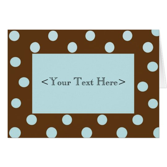 Brown and Blue Polka Dot Stationery Card
