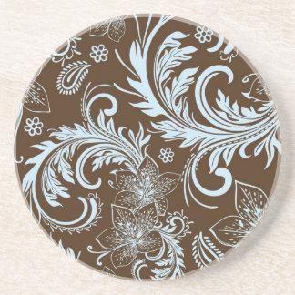 Brown And Blue Retro Flowers & Swirls Design Beverage Coaster