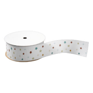 Brown and blue stars craft ribbon grosgrain ribbon