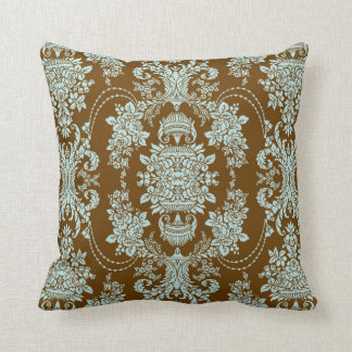 Brown And Blue Vintage Baroque Floral Pattern 2 Throw Pillow