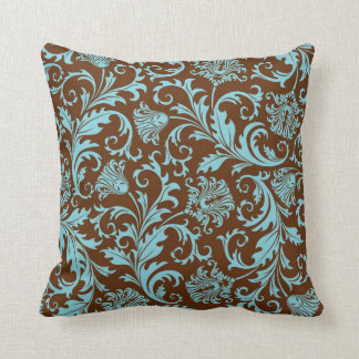 Brown And Blue Vintage Floral Damasks Pattern Throw Pillow