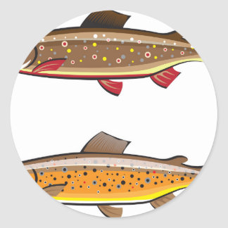 Brown and brook trout round sticker