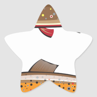 Brown and brook trout star sticker