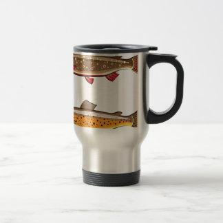 Brown and brook trout travel mug