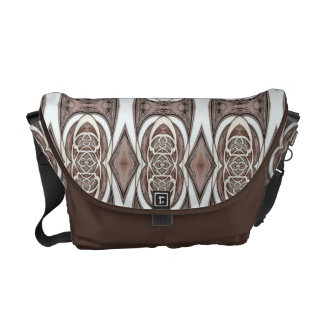 Brown And Cream Abstract Pattern Courier Bag