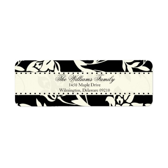 Brown and Cream Damask Personalized Return Address