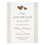 Brown and cream hearts Save the Date announcement