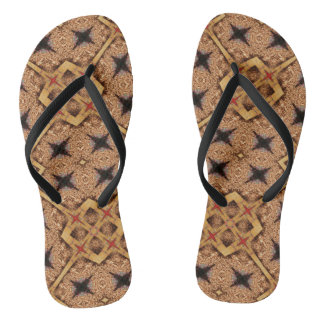 Brown And Cream Mosaic Pattern Flip Flops