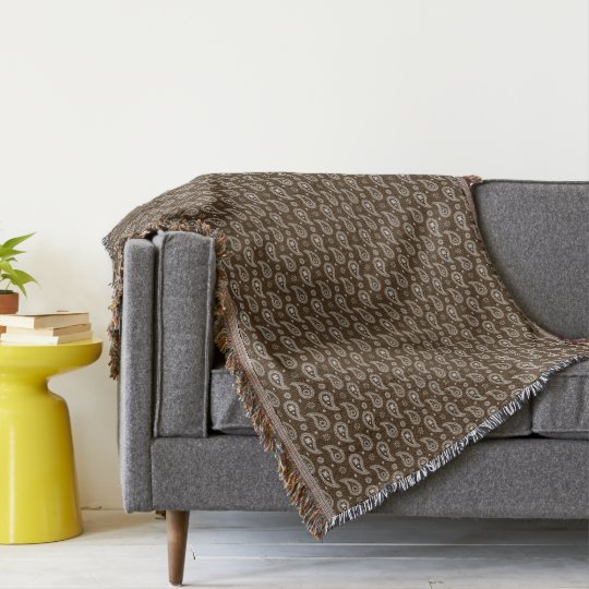 Brown and Cream Paisleys Throw Blanket