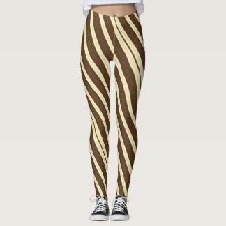 Brown and Cream Pinstripe Leggings