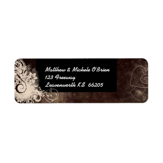 Brown and cream swirl designer label