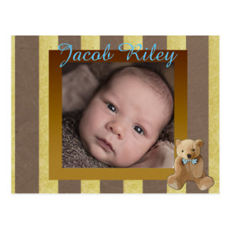 Brown and Gold Baby Boy Birth Announcement Postcard