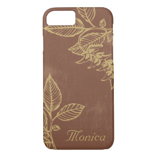 Brown and Gold Bay Leaves, Custom iPhone 7 Case