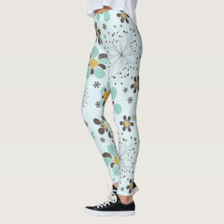 Brown and Gold Floral Leggings
