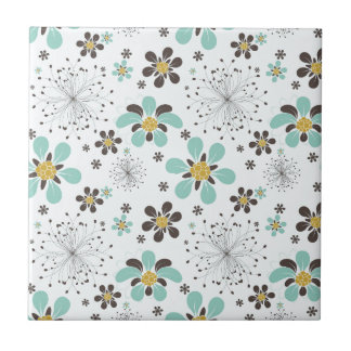 BROWN AND GOLD FLOWERS TILE