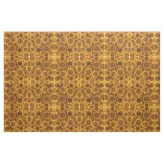 Brown and Gold Grunge Steampunk Pattern Fabric