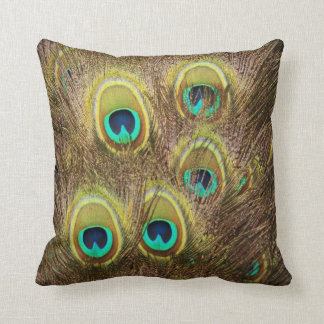 Brown and Gold Peacock Feather Throw Pillow