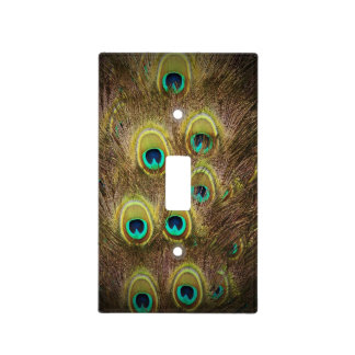 Brown and Gold Peacock Light Switch Cover