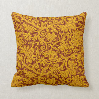 Brown And Gold Rich Indian Brocade Pattern Throw Pillow