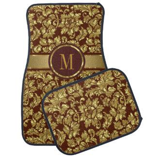 Brown And Gold Vintage Floral Damasks Monogram Car Carpet