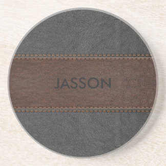 Brown And Gray Vintage Leather Coaster