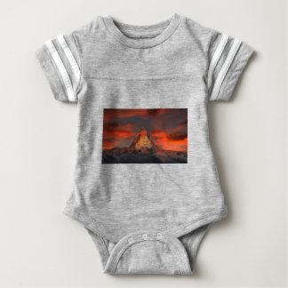 Brown and Gray White Mountain Under Cloudy Sky Baby Bodysuit