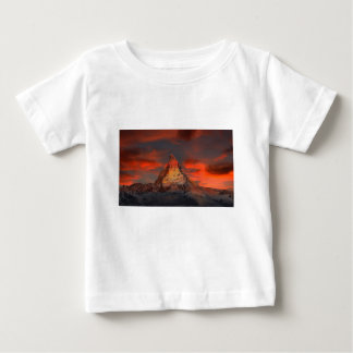 Brown and Gray White Mountain Under Cloudy Sky Baby T-Shirt