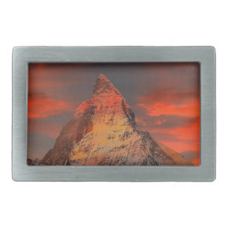 Brown and Gray White Mountain Under Cloudy Sky Belt Buckles