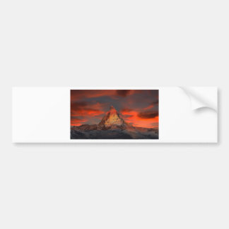 Brown and Gray White Mountain Under Cloudy Sky Bumper Sticker