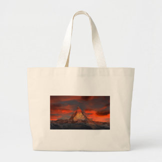 Brown and Gray White Mountain Under Cloudy Sky Large Tote Bag