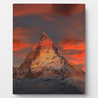 Brown and Gray White Mountain Under Cloudy Sky Plaque