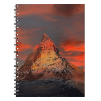 Brown and Gray White Mountain Under Cloudy Sky Spiral Notebook