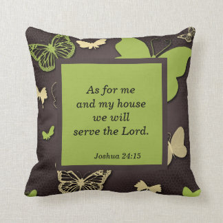 Brown and Green Butterfly Scripture Verse Pillow