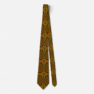 Brown and Green Fractal Pattern Men's Tie
